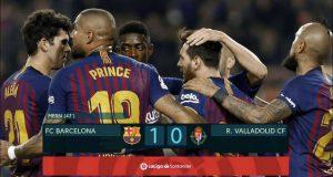 Barcelona berhasil meraih kemenangan tipis atas tamunya Real Valladolid lewat satu-satunya gol dari pemain bintang mereka